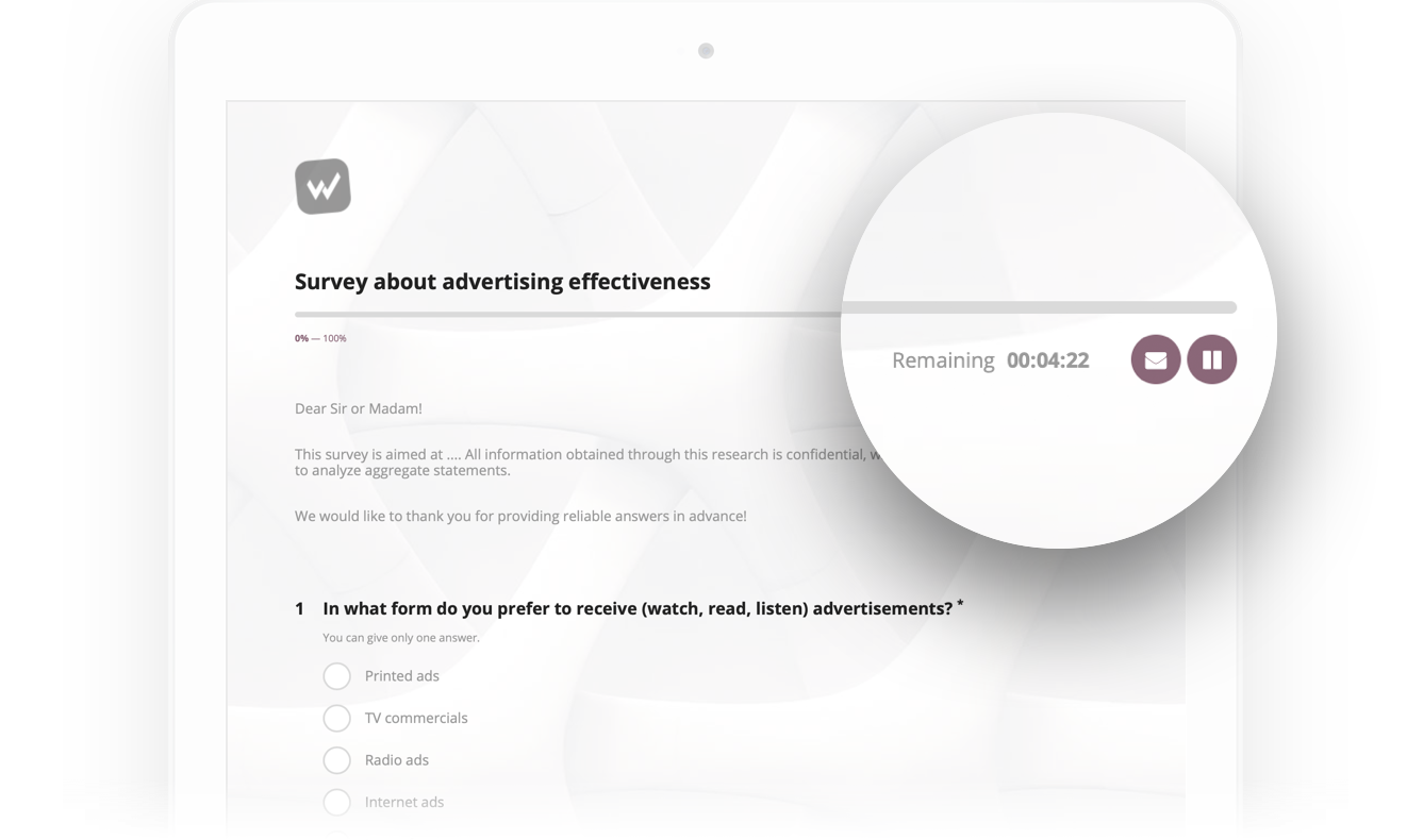 The view of screen with a survey